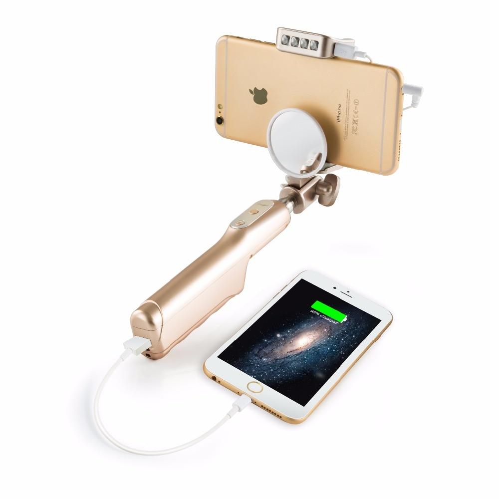 Nova Wired Selfie Vara Com 3200 mAH Banco de Potência de Alta Qualidade Encher de luz Portátil Monopé Com Espelho Traseiro Para Iphone Android