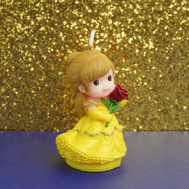Vela de princesa adorable para niños, velas de cumpleaños kawaii para bebés, velas para pastel, Festival de decoración, decoración de fiesta, vela de cera con esencias