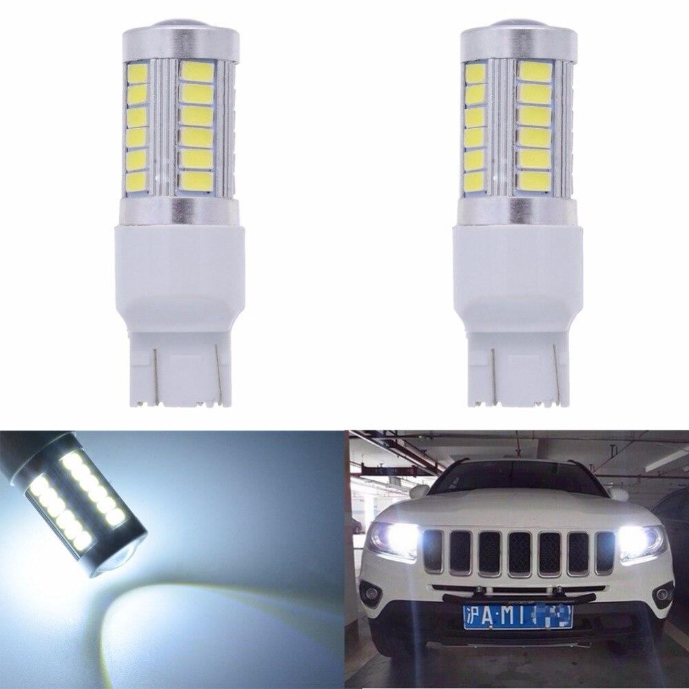 Katur 2 pces 7443 744na lâmpada led 5630 33-smd branco 900 lumens 6000k super brilhante led transformar cauda freio parar sinal lâmpada