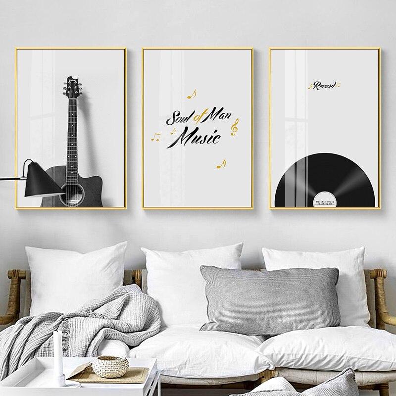 Instrumento moderno de grabación en blanco y negro, póster de pintura en lienzo e impresión de imágenes artísticas de pared para sala de estar, dormitorio, decoración Nórdica