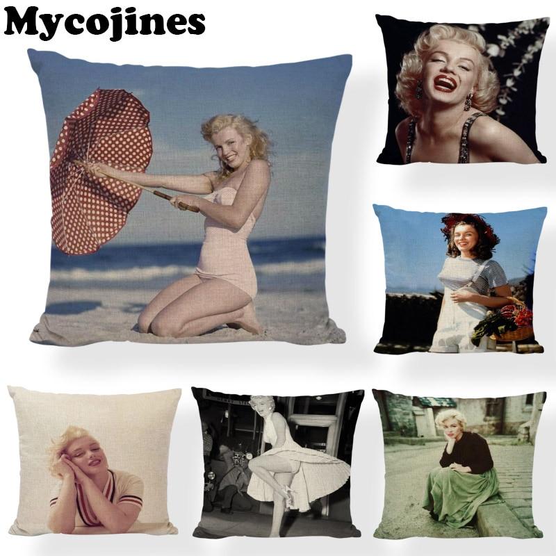 Funda de cojín Sexy Marilyn Monroe, 45x45 cm, paraguas para mujer, hogar, dormitorio, sofá, sala de estar, regalo, funda de cojín estampada de lino