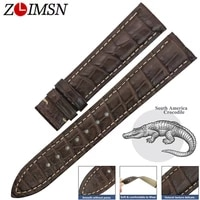 zlimsn genuine leather watch band for omegade villehippocampus watches straps for male crocodile leather bracelet belt 14 24mm