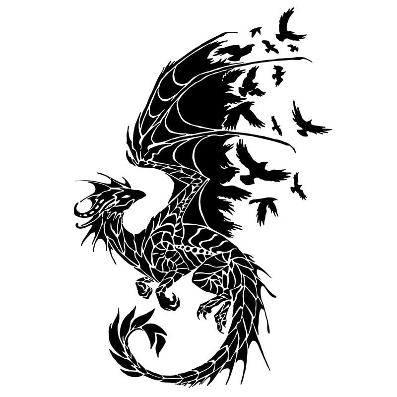 11.7cm*17.2cm Dragon Birds Creative Car Sticker Motorcycle Decal Black/Silver S3-5799
