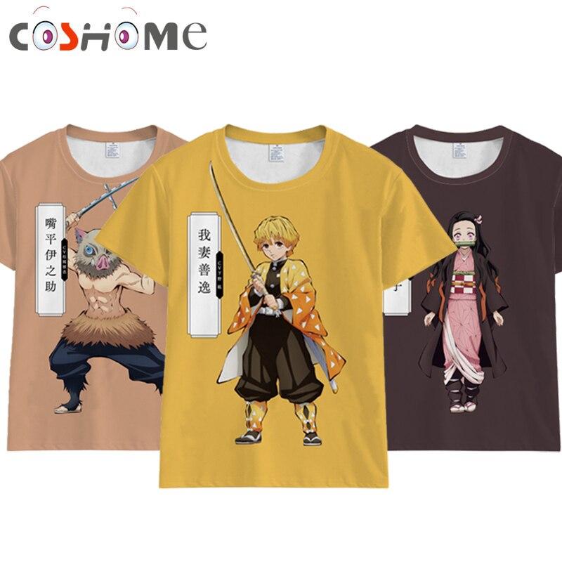 Coshome Anime demonio asesino Kimetsu no Yaiba Cosplay Tanjiro Kamado camiseta de las mujeres de los hombres traje de manga corta de verano Camisetas Tops