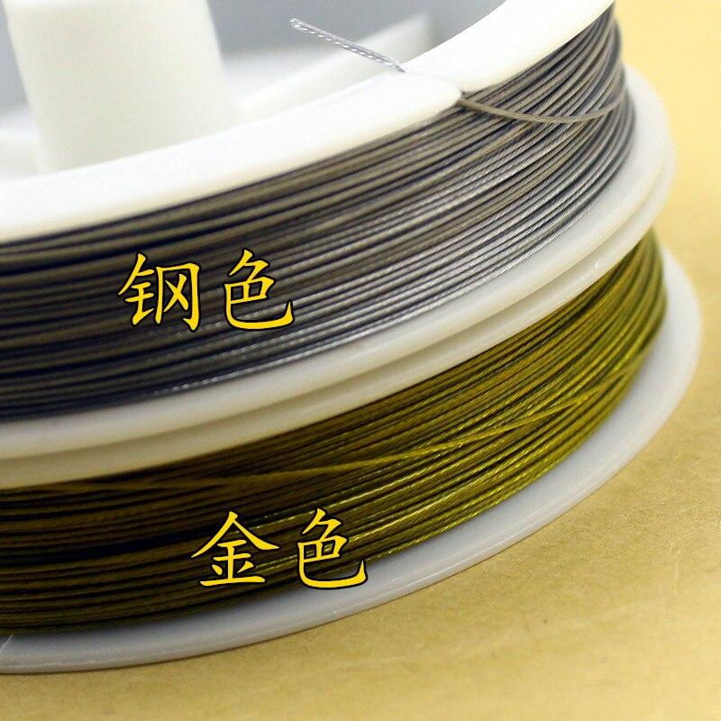 1 рулон, высокое качество, Золотой/стальной цвет, трос 0,3 0,38 0,45 0,5 0,6 0,8 0,8 мм, ручная работа, бисер, аксессуары для резьбы, DIY ювелирных изделий