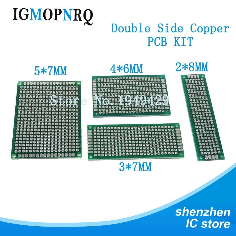 4 Uds 5x7 4x6 3x7 2x8 cm doble lado cobre pcb prototipo placa universal kit DIY electrónico PCB