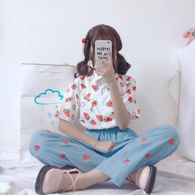 Vrouwen Shirts Japan Kawaii Dames Vintage Super Fruit Aardbei Print Shirt Vrouwelijke Koreaanse Punk Harajuku Kleding Voor Vrouwen
