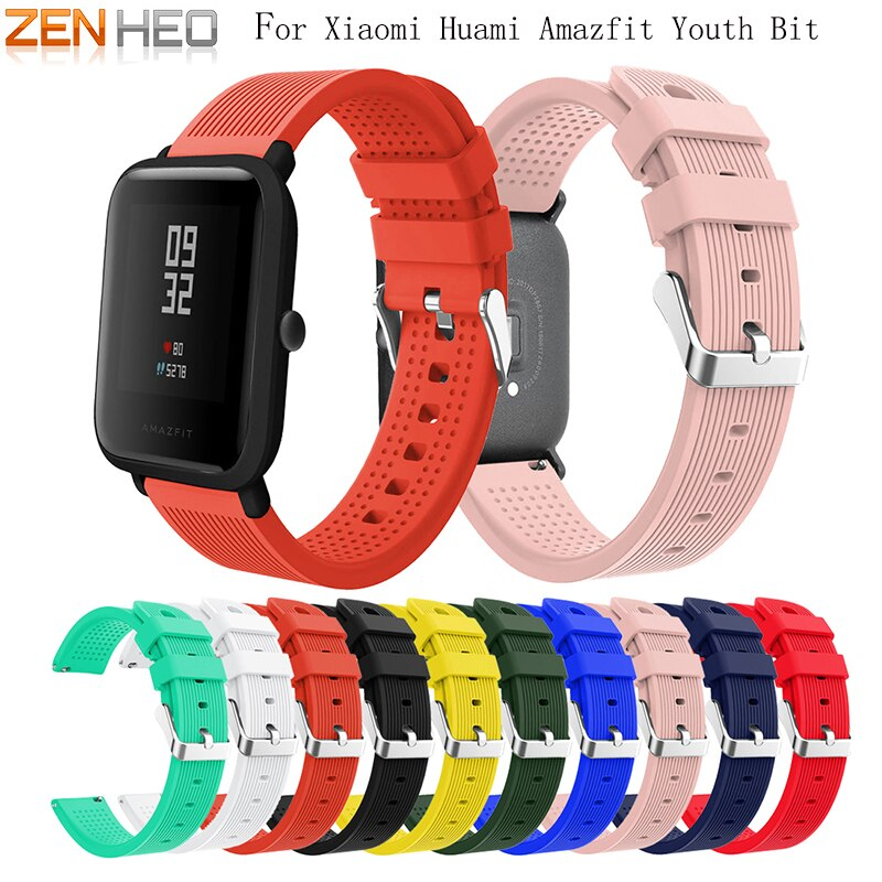 20mm Soft Silicone Wrist Strap For Xiaomi Huami Amazfit Bip BIT PACE Lite Youth Smart Watch Wearable Wrist Bracelet Watchband genuine leather loop magnetic band strap for huami amazfit bip bit pace lite youth smart watch closure buckle wristband bracelet