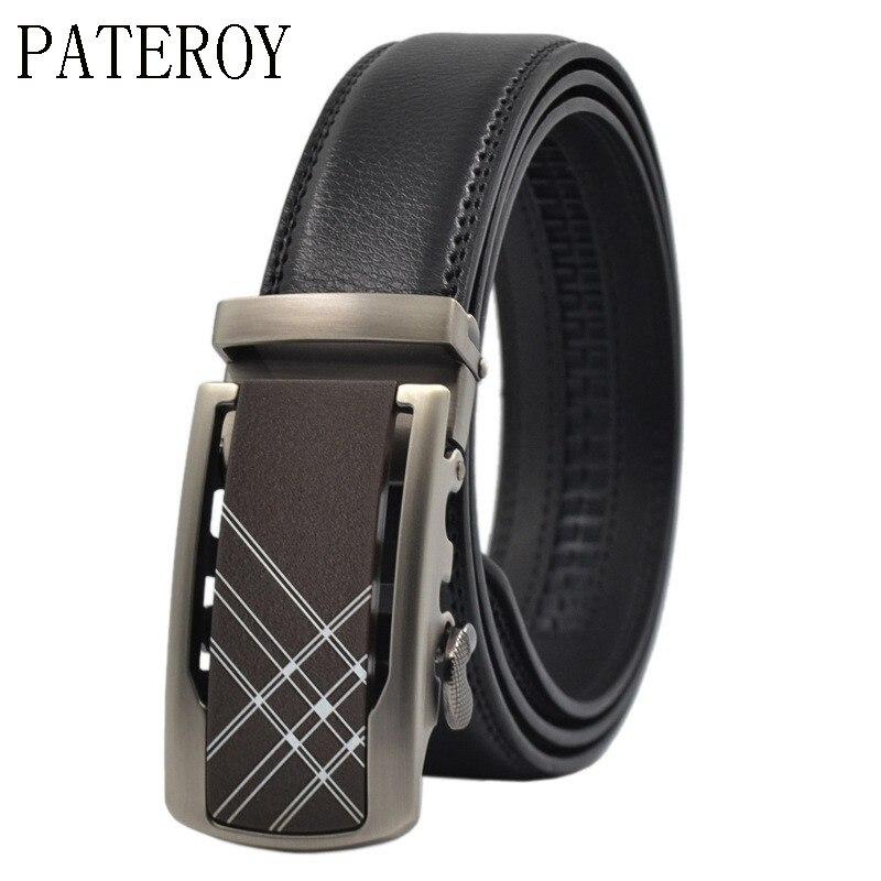 Pateroy correa de cuero de los hombres hebilla automática hombres cinturones de lujo casual alta calidad cinto masculino de cinturón de cintura ceinture