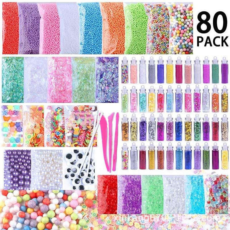 80 unids/pack de pelota de espuma gránulos de lentejuelas de cuentas de papel de azúcar limo Material de fabricación conjunto