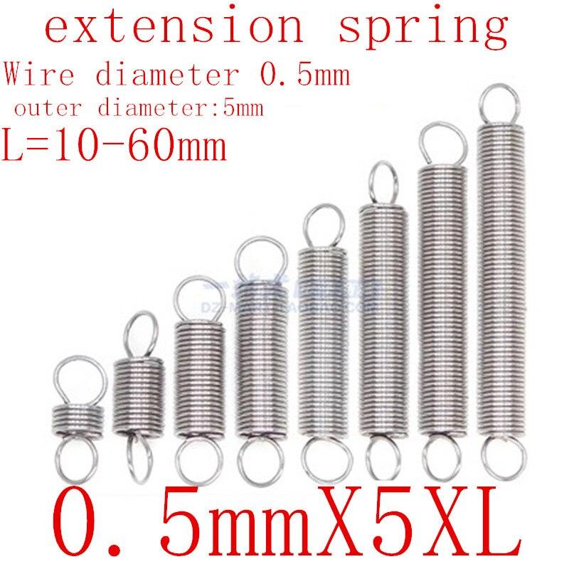 10 pçs/lote 0.5 milímetros 0.5 milímetros x 5mm x L Aço Inoxidável tensão da mola mola de extensão diâmetro exterior 5mm, comprimento 10-50mm