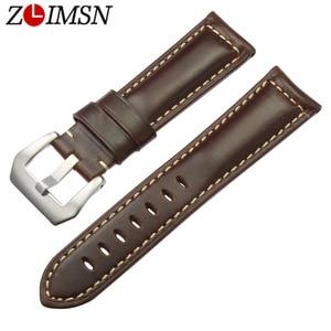 ZLIMSN watch bracelet belt  watchbands genuine leather strap watch band 22mm 24mm 26mmwatch accessories wristband for Panerai
