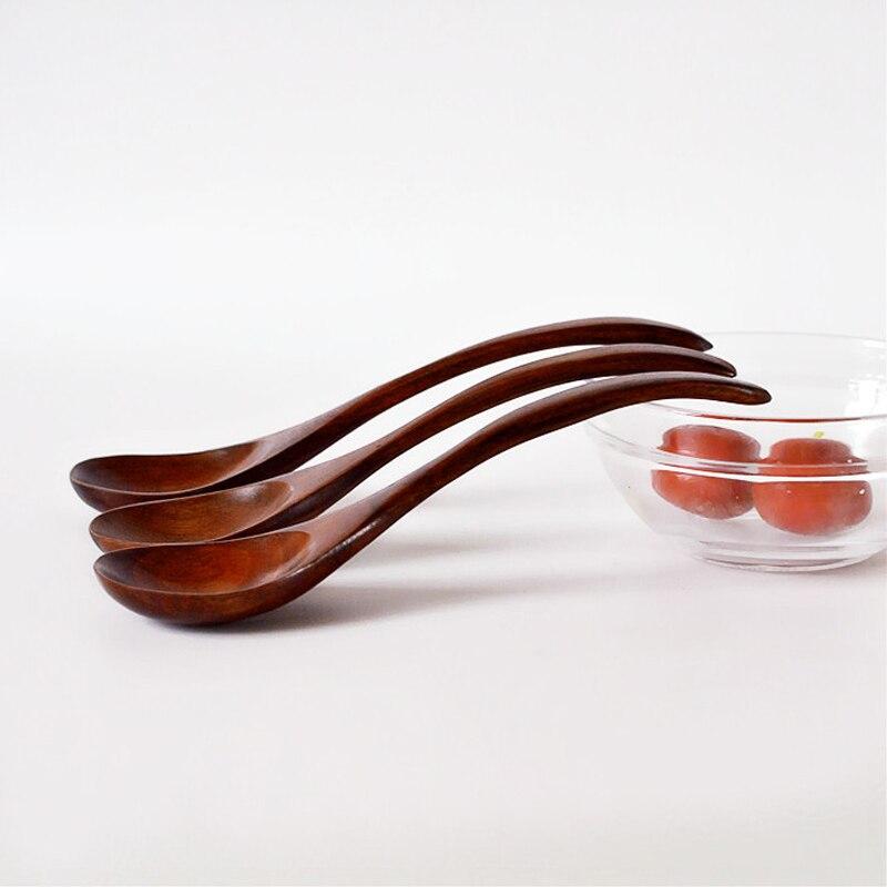 Быстрая доставка, сервировочная ложка, ложка для супа, деревянные резные ложки, 10 шт./лот, 18 см, ложка для смешивания, лопатка