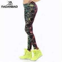 NADANBAO, venta al por mayor, novedad, leggings de mujer a la moda, leggings de colores con estampado 3D de rayo, leggings fluorescentes, leggings para mujer