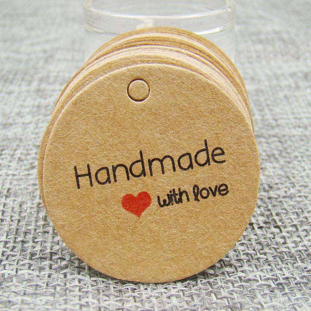 Papel kraft de 1,18 pulgadas, 100 Uds., etiqueta hecha a mano con amor para caja de regalo DIY, etiqueta Para Magdalena de caramelo, recuerdo hecho a mano, etiqueta de marca
