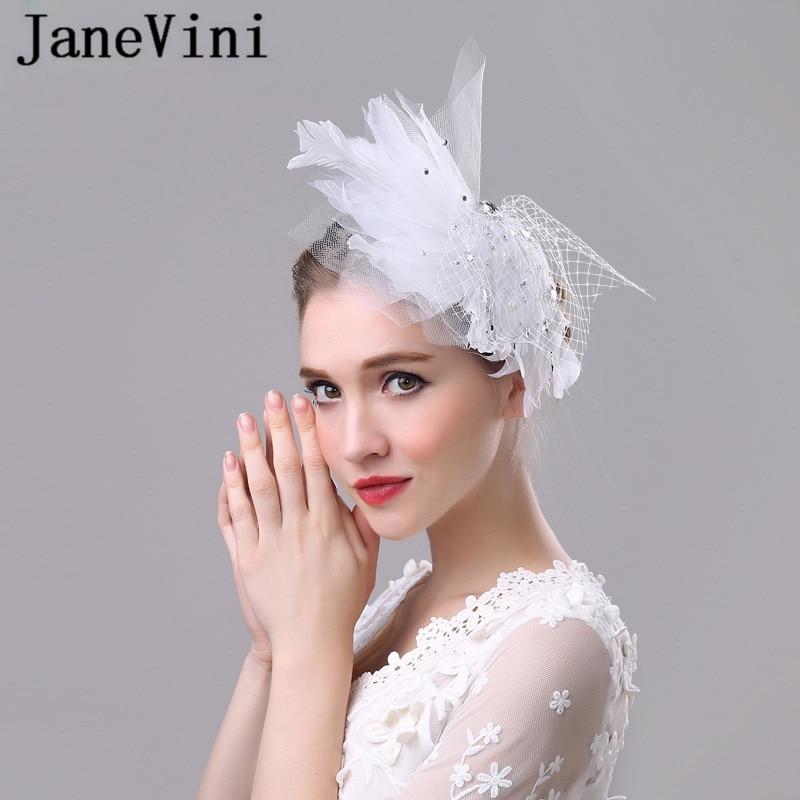 JaneVini De moda blanco boda sombreros para las mujeres sombrero De malla...