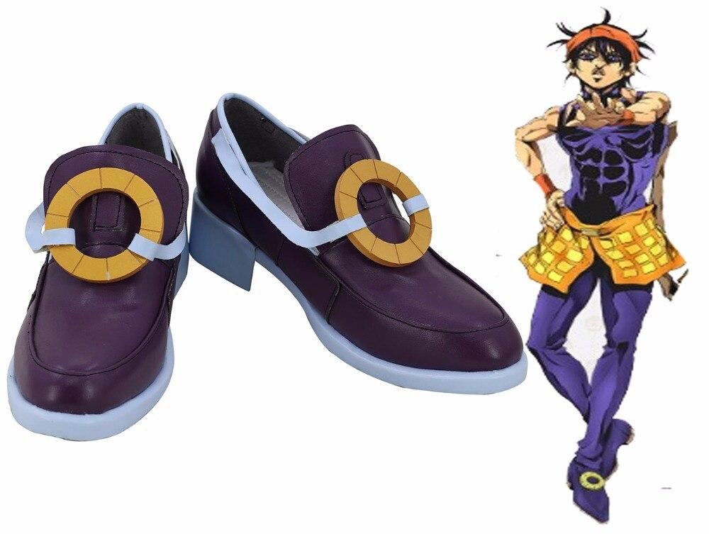 Bizarre Adventure V Vento Aureo Narancia Ghirga Cosplay zapatos botas moradas por encargo de cualquier tamaño