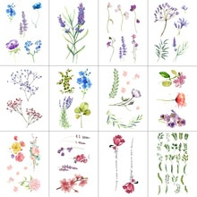HXMAN 12 PCS/lot Flower Temporary Tattoo Sticker for Women Men Fake Tatoo Body Art Adult Waterproof Hand Stickers 9.8X6cm W12-04