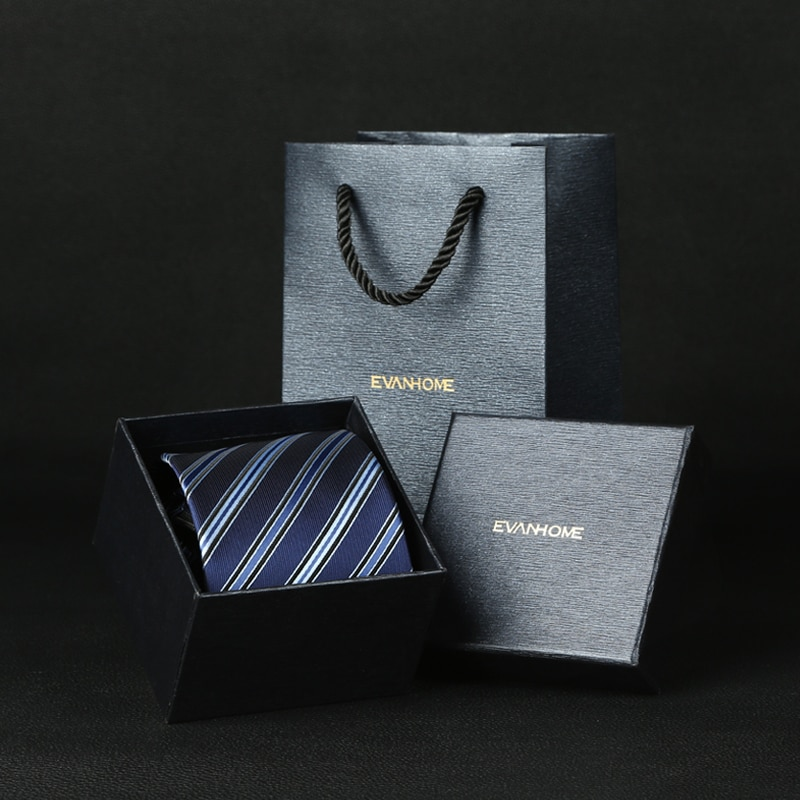 man bow tie 2018 new arrival formal suits ties for men deep blue striped adult business wedding groom necktie with gift box 8cm