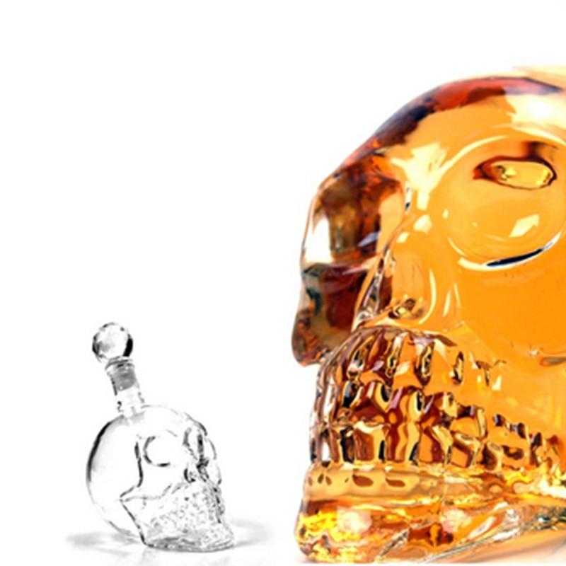 4 Size Crystal Skull Whiskey Vodka Wine Decanter Beer/Brandy Storage Glass Bottle Carafe Cup Flask Bar Home Alcohol Glass Vessel