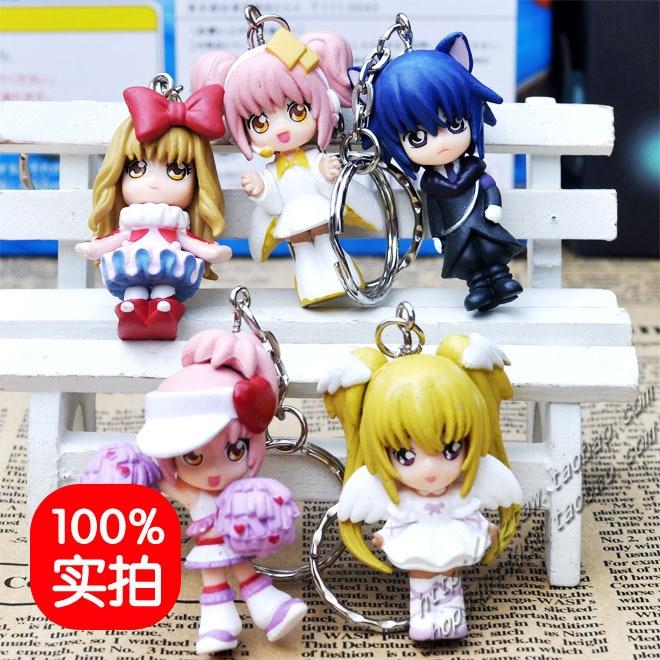 5 pçs anime pêssego-pit shugo chara correu hinamori amu tsukiyomi utau tsukiyomi ikuto figura de ação chaveiro brinquedos