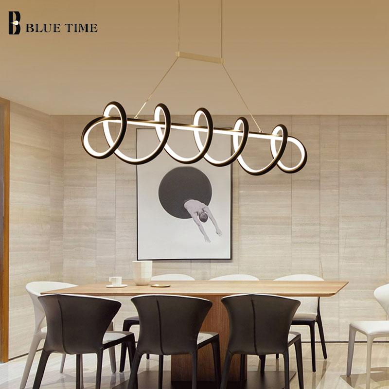 Современные светодиодные подвесные светильники, черно-белые лампы для гостиной, столовой, кухни, потолочные лампы, домашние подвесные свет...