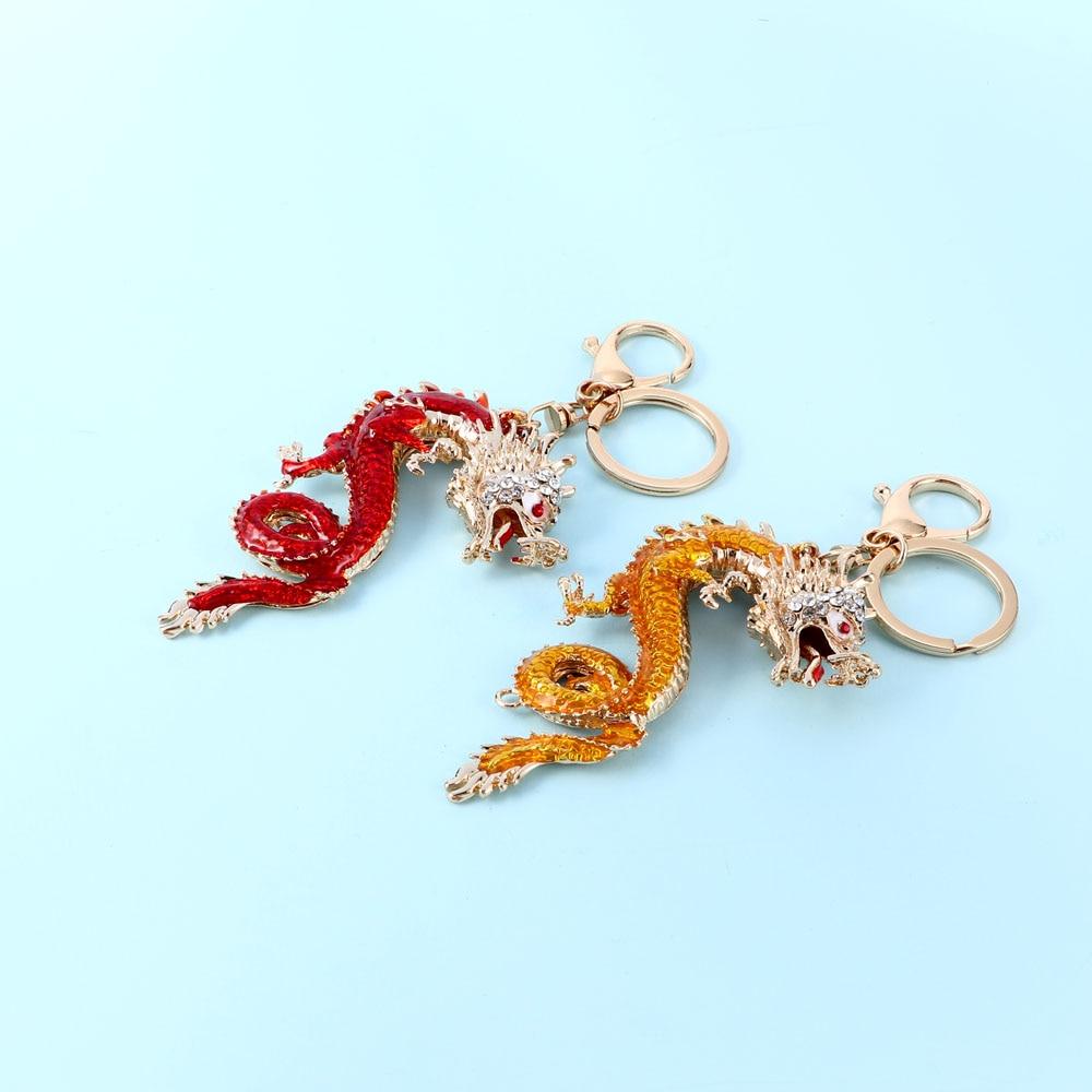 Llaveros de dragón con diamantes de imitación, llaveros imperiales de cristal de estilo chino, llaveros de dinosaurio de animales, llaveros de coche para hombre, llaveros, dijes de bolsa