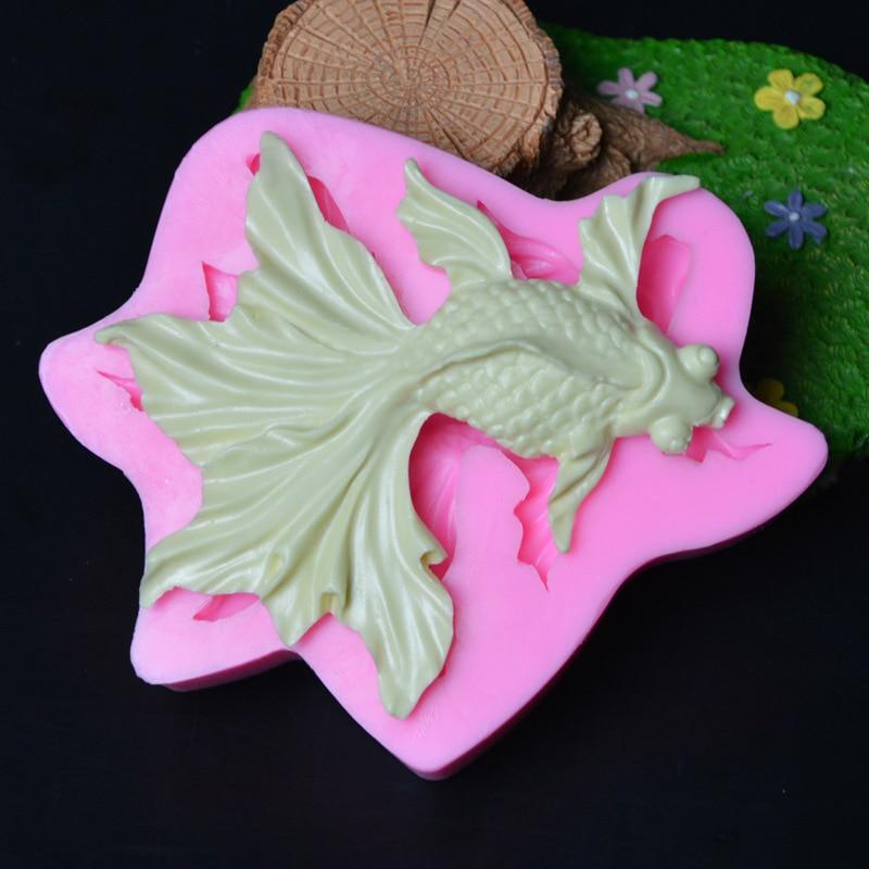 Moldes de Silicone Molde de Silicone Novo Goldfish Molde Bela Cauda Carpa Moldes Sabão Gel Peixe Chocolate Aroma Pedra Przy 3d