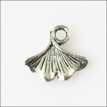New 50Pcs Tibetan Silver Color Tiny Leaf Fan Shell Charms Pendants 12mm