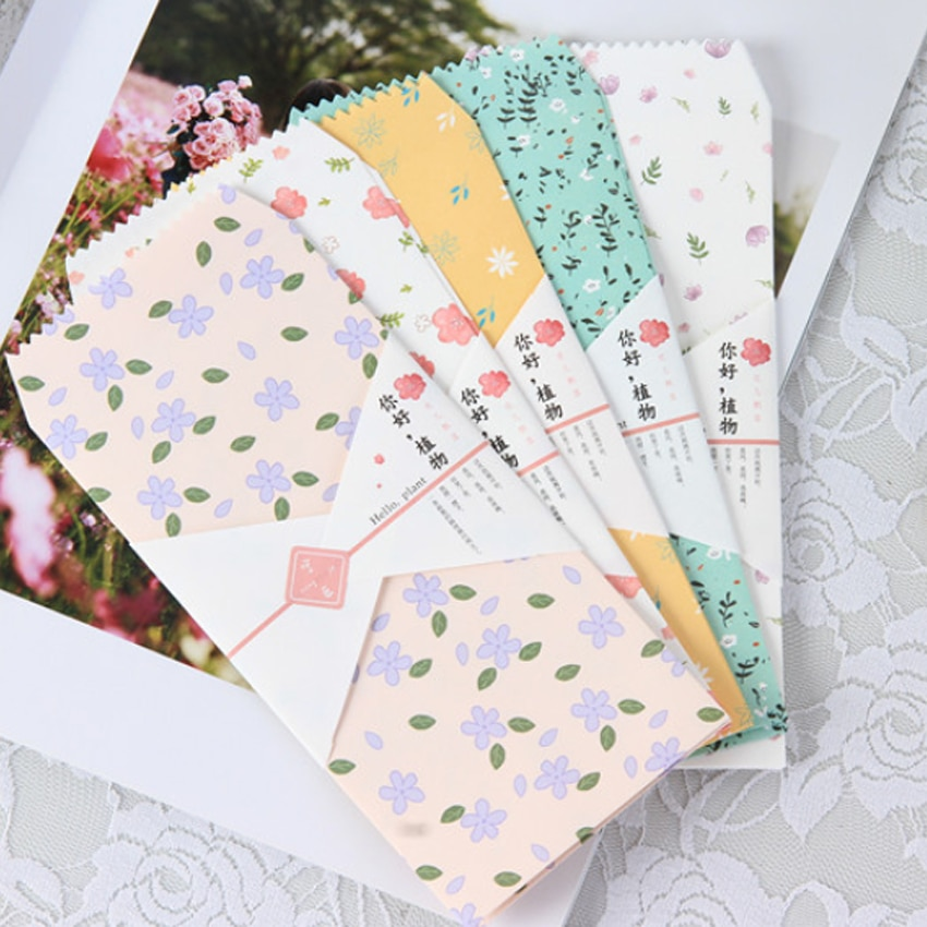 10Pcs/pack Kawaii Hello plants Envelope Envelope Letter Paper Message Card Letter Envelopes Office School Supply