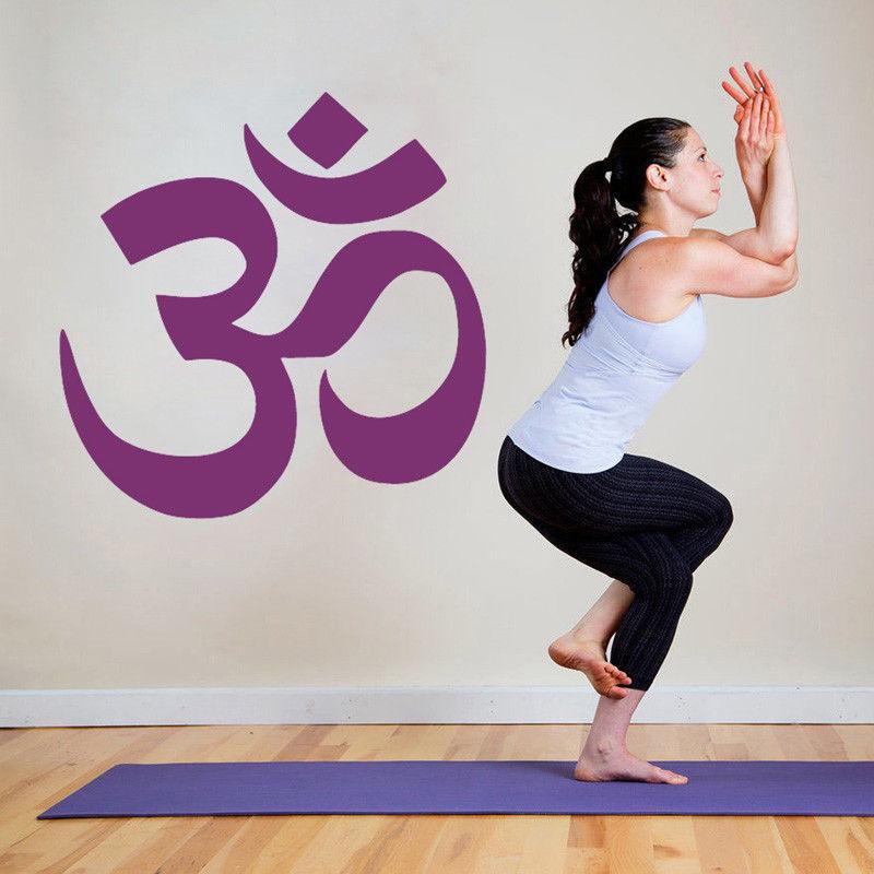 Yoga Logo Buda Namasté pegatina de pared vinilo arte cartel removible Mural Mandala hinduismo Ganesha gimnasio en casa etiqueta de la pared W416