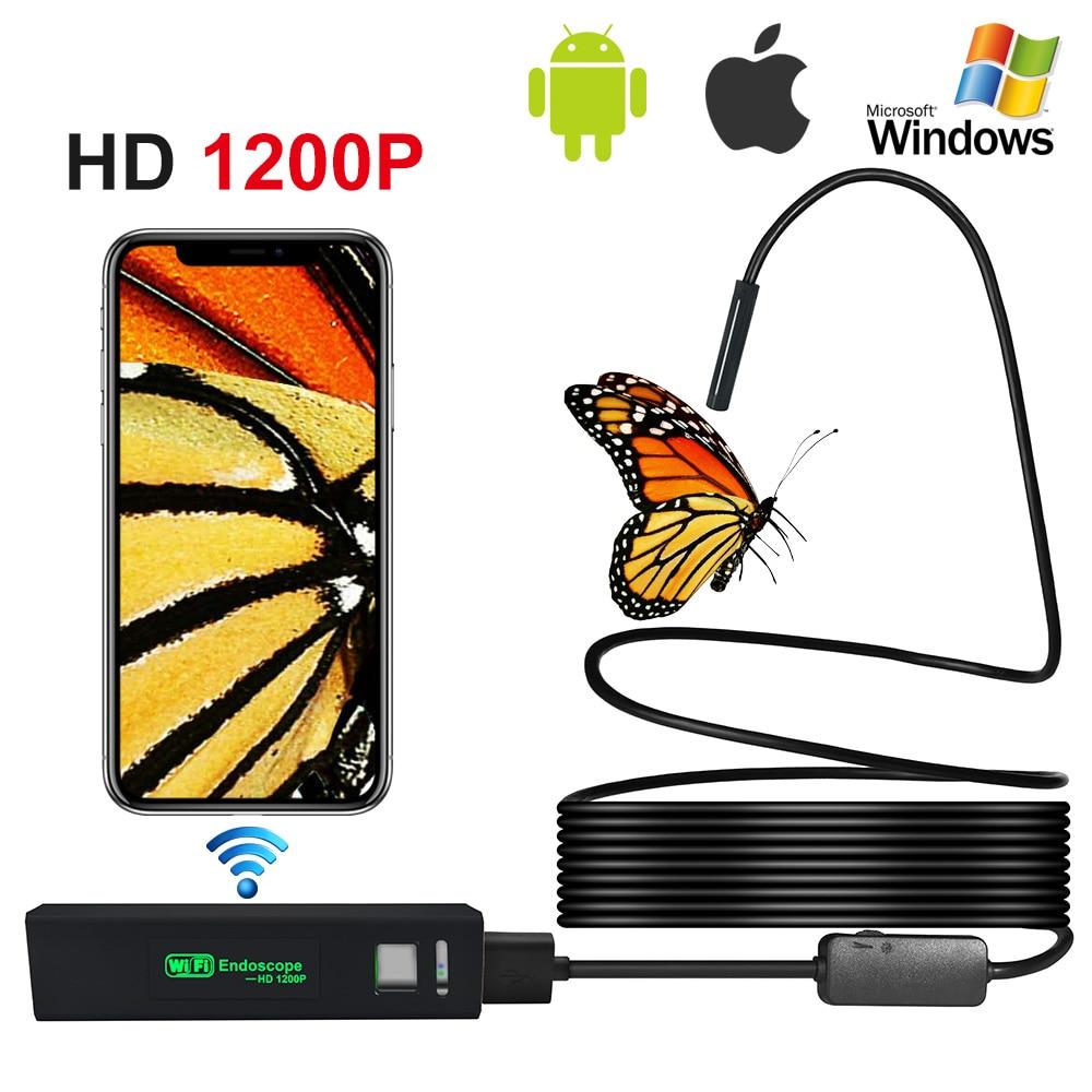Endoscopio de 8MM HD Wifi Android IOS cámara de inspección WIFI impermeable boroscopio serpiente cámara de vídeo construido en batería de cable duro