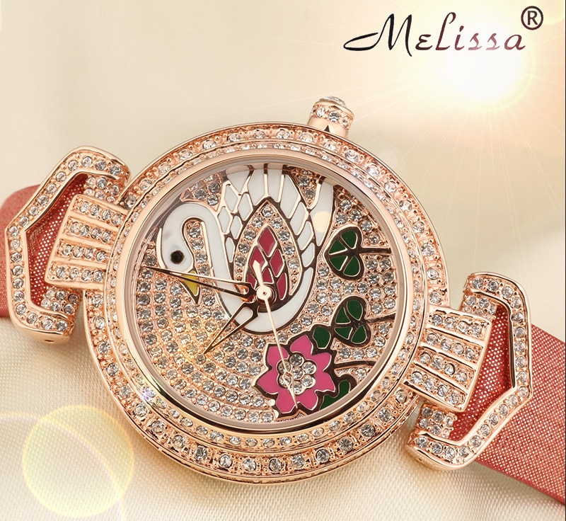 Relojes de lujo con cristales completos para mujer, reloj elegante Vintage esmaltado con Cisne, reloj de pulsera de marca MELISSA Quart, reloj femenino MP522