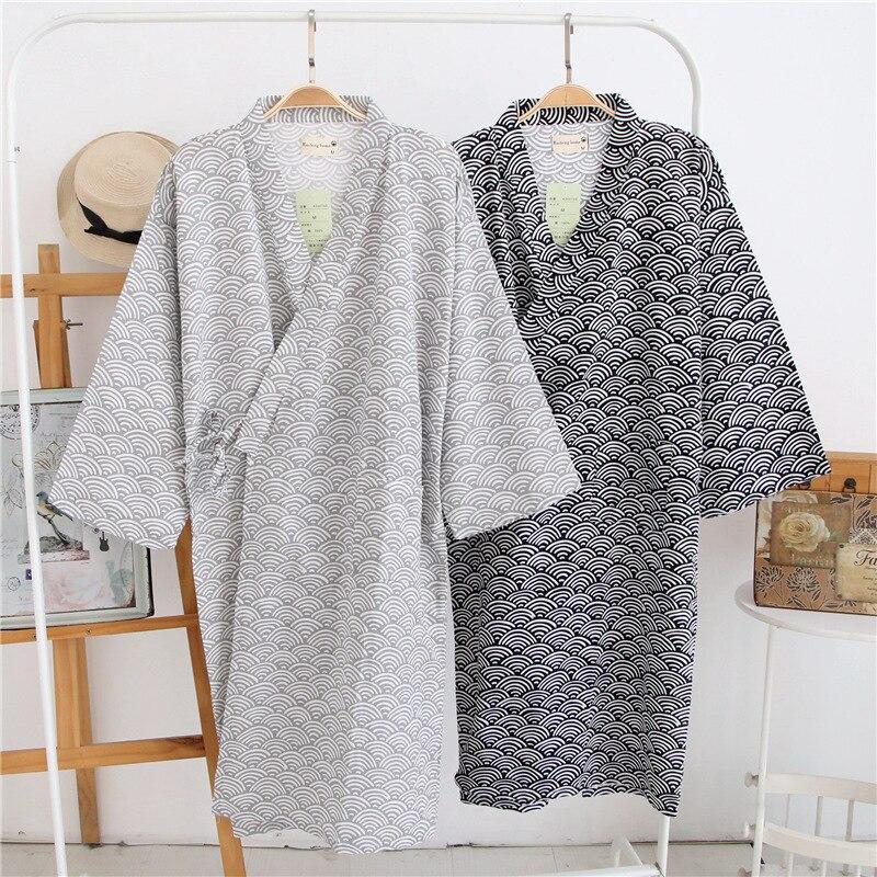 Bata de gasa de algodón para hombre, bata de baño japonesa estilo fino suelto, Kimono, ropa de dormir, batas con capucha para hombre, bata de baño de pijama con cuello en V