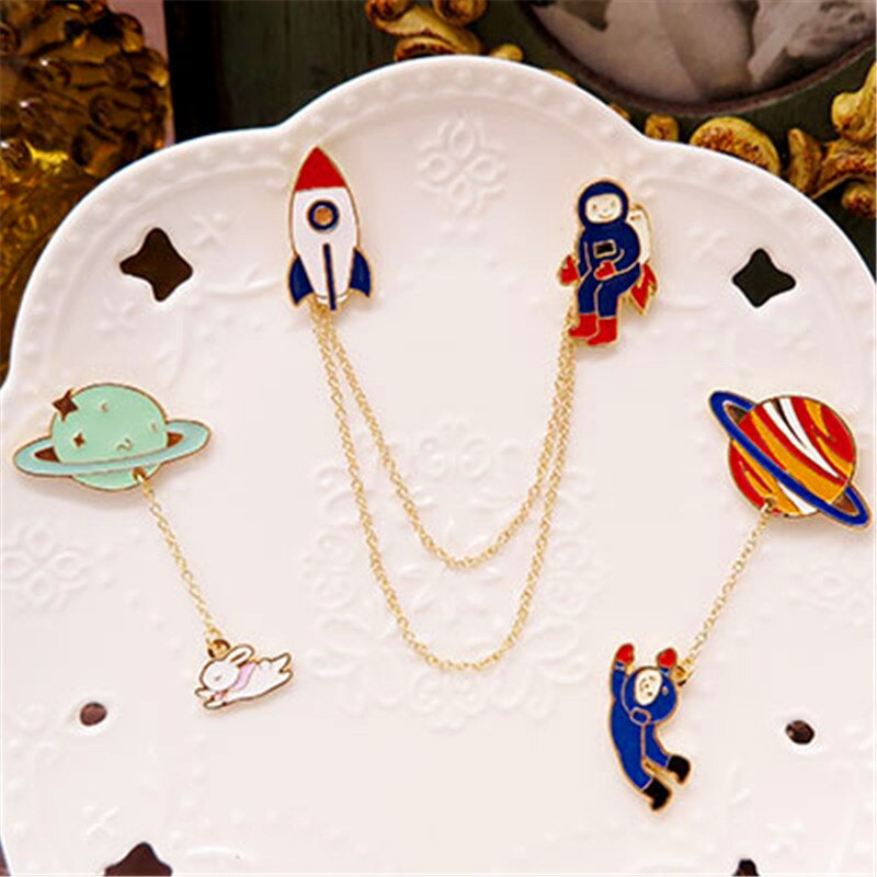 Across its astronauts cartoon lovely and sweet moon rabbit badge brooch brooch Ms birthday present brooch