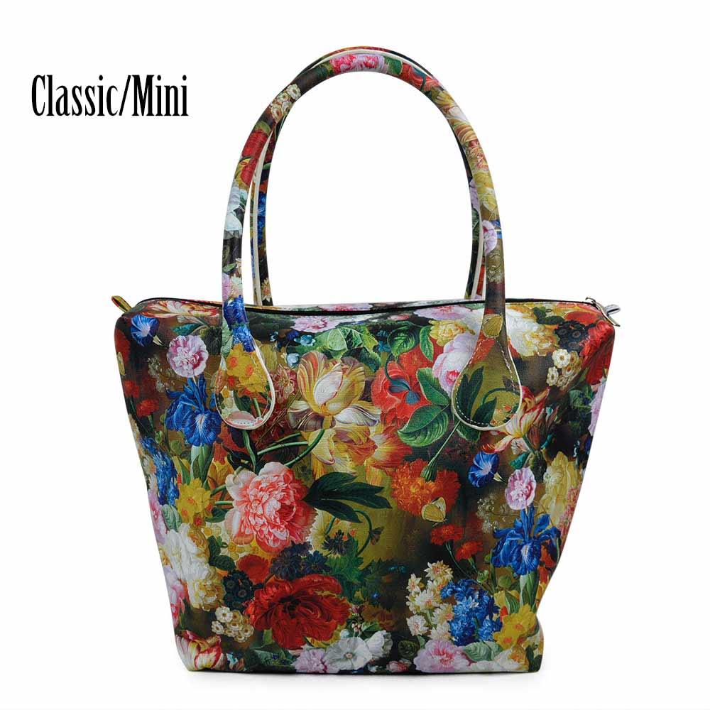 New TANQU Waterproof Faux PU Leather Floral Insert Inner Pocket Plus Handle for Classic Mini Obag O Bag Women Handbag