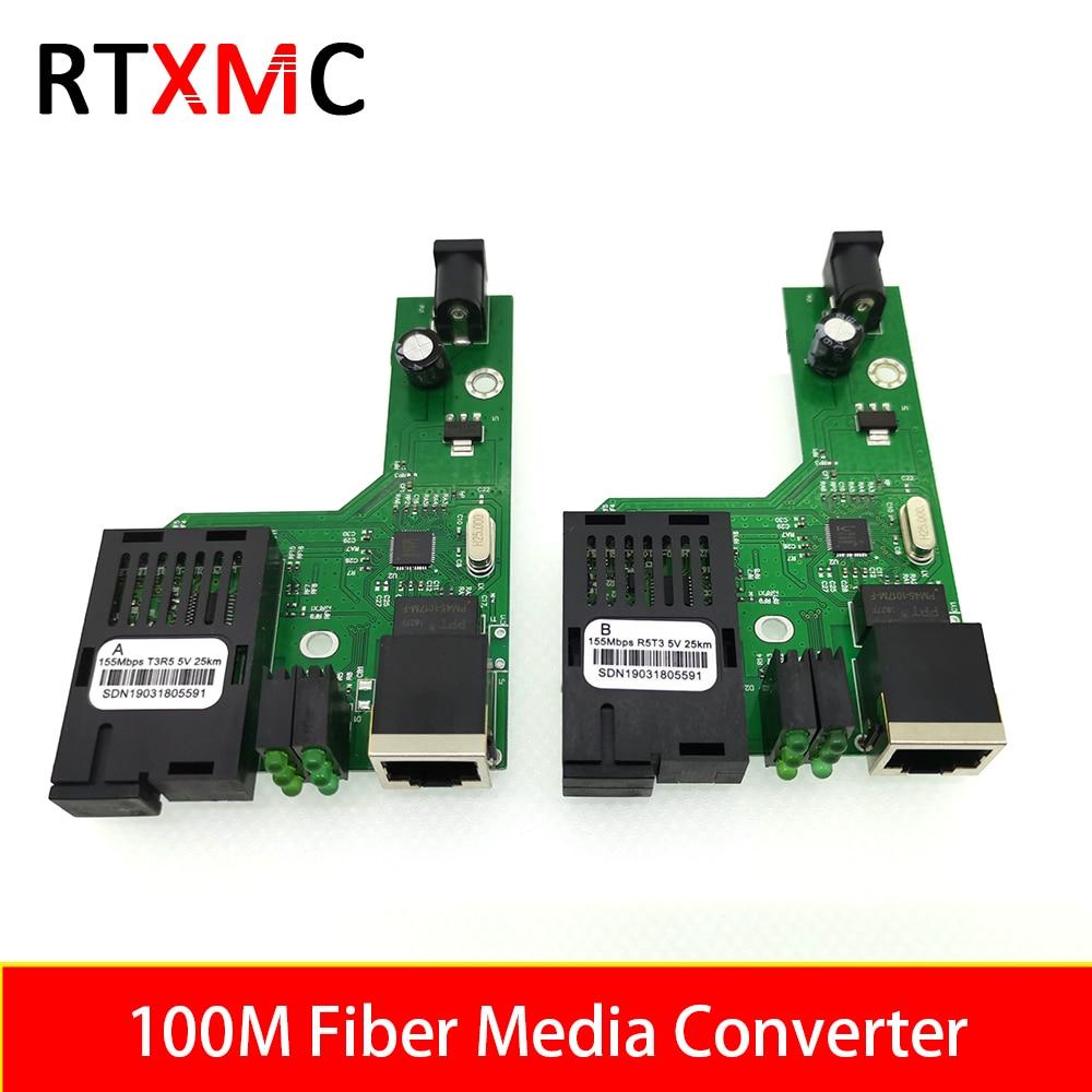 10Pairs 100M Optical Fiber Media Converter Fiber Transceiver Single Fiber Converter 25km SC 10/100M Singlemode Single Fiber PCBA