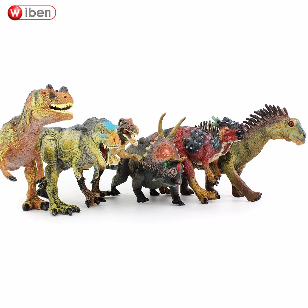 Wiben 6 pçs/lote tiranossauro rex carnotauro, agoinia, deonicomicose, brinquedos por triceratops