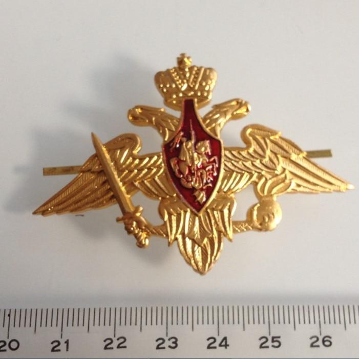 Rusia USSR Cap alfileres de solapa con placa Vintage clásicos Retro placa de metal ejército Souvenir águila de dos cabezas emblema ejército