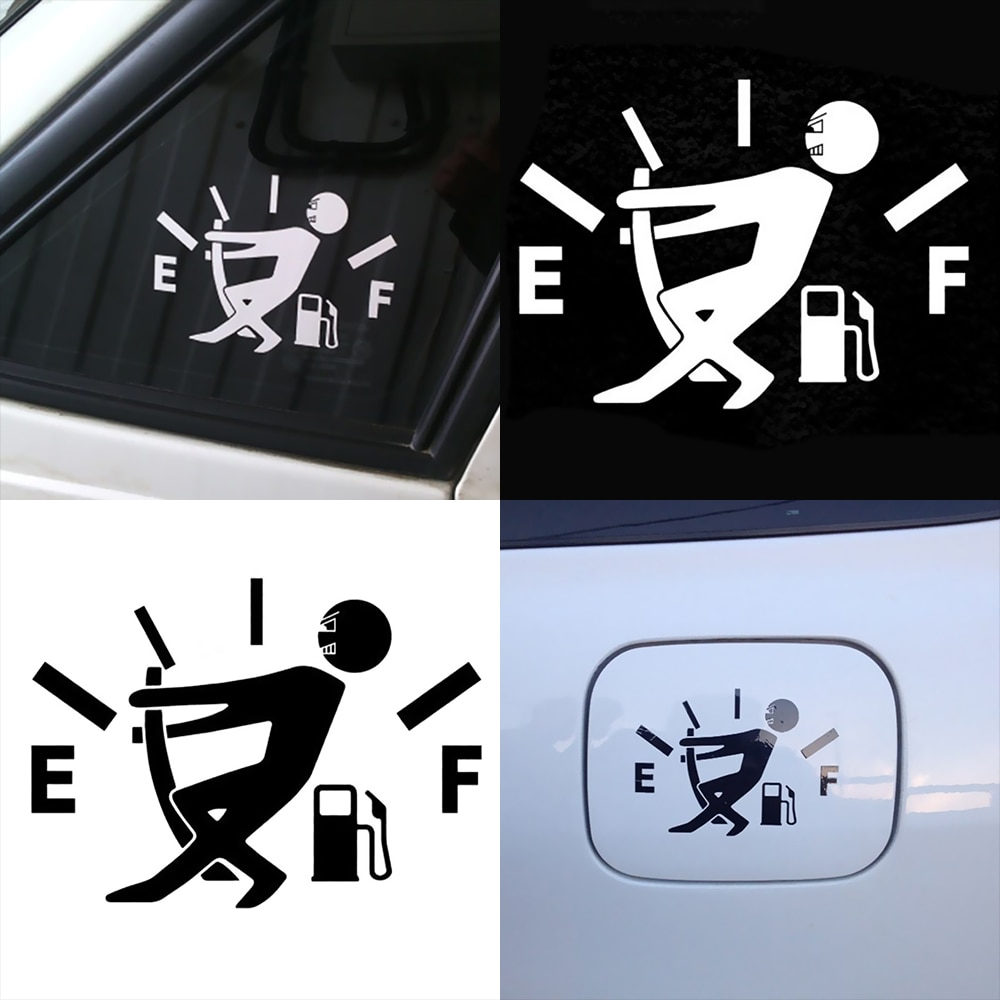 Reflective Cute Oil Shortage Car Body Styling Sticker Removable Waterproof For Tesla Model 3 Bmw Ford Volkswagen Audi Peugeot