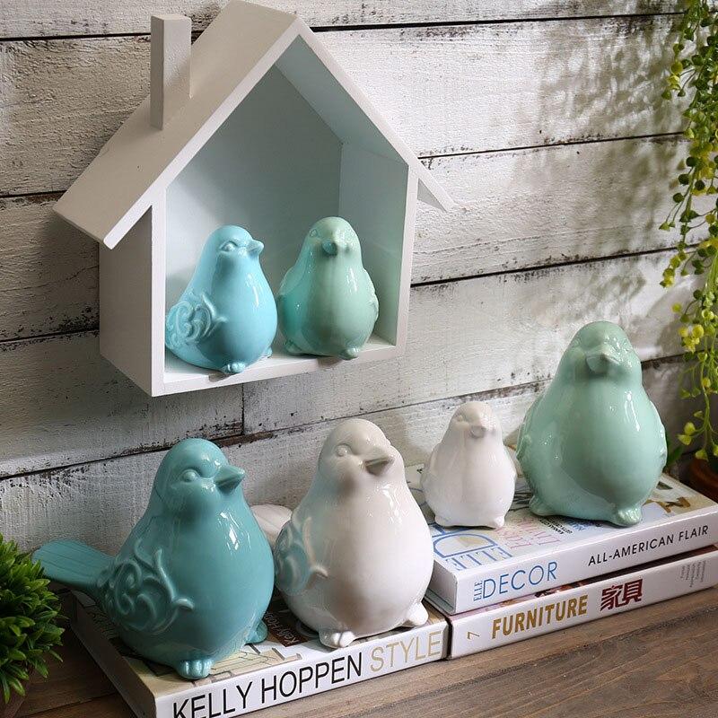 Figuritas de pájaros de cerámica, adornos de pájaro azul, verde, blanco, pájaro, modelo de animales, miniaturas de jardín, decoración artesanal para el hogar, regalo encantador
