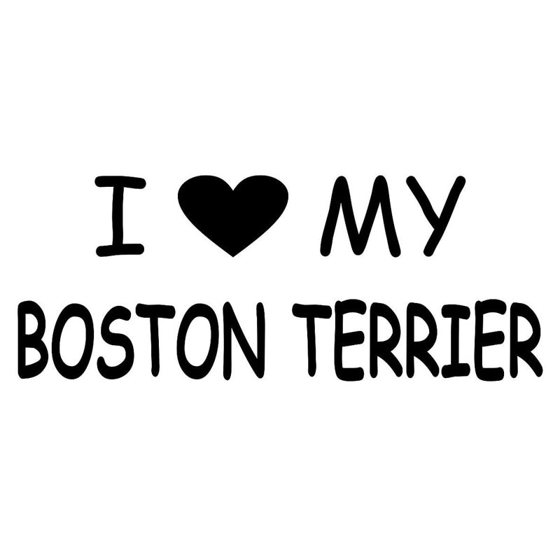 15CM * 6CM I love My Boston Terrier pegatina de vinilo para coche accesorios de estilo de coche pegatinas negras/Plateadas C8-0313