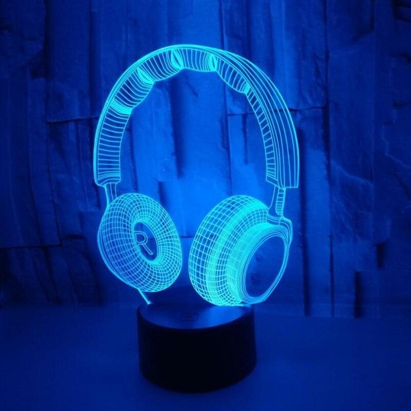 3d fone de ouvido visual multi-colorido acrílico luz criativa presente mobiliário doméstico 7 mudança de cor