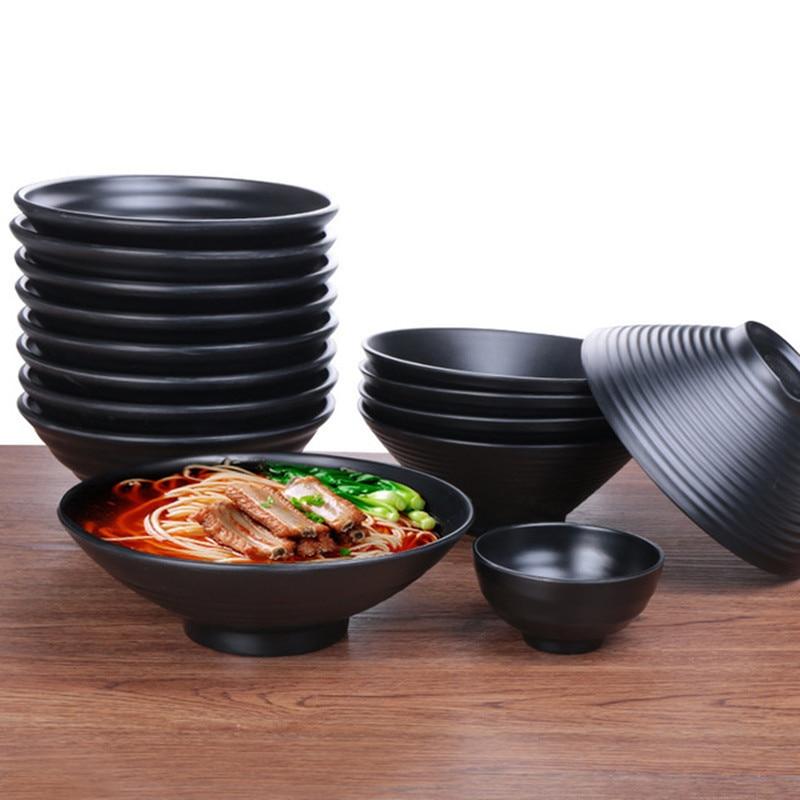 Cuenco de fideos en melamina de estilo japonés, porcelana de imitación negra, tazón de sopa, salsa, bol de arroz, juego de vajilla caliente
