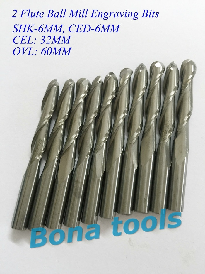 Nuevo 5 unids/lote SHK 6,0x32mm CNC insert bit de la máquina, cortador de fresado de carburo sólido, 2 flauta de punta de bola, relieve de carpintería