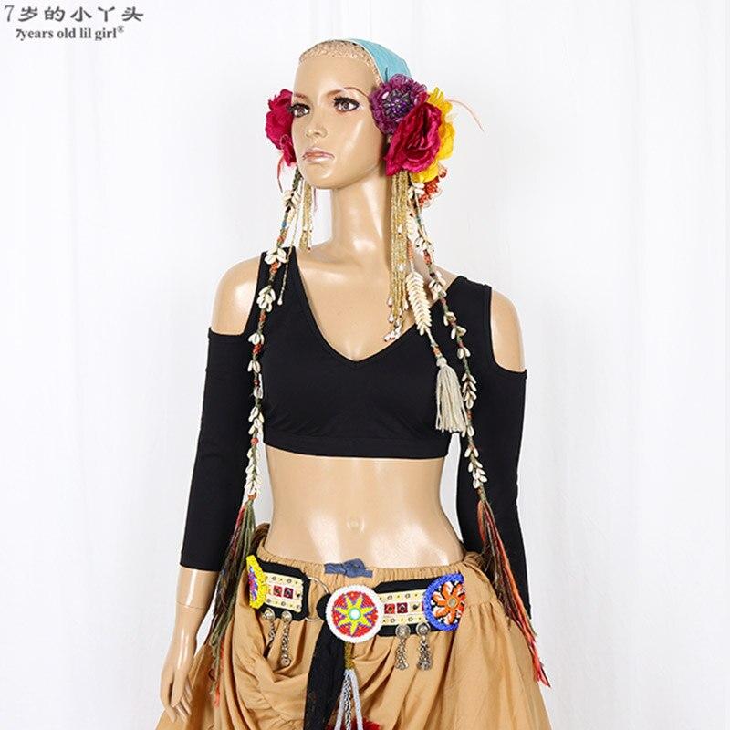 De algodón de Lycra ATS estilo Tribal Tops para danza del vientre Sexy diseño de cuello en V sin respaldo media manga Tops para mujeres CGG01