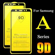 2 uds 9D protectora de cristal para Samsung Galaxy A6 A7 A8 2018 más A3 A5 2017 protector de pantalla 3 5 5 5 6 6 7 8 funda completa templada de vidrio