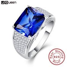 JQUEEN-bagues promesse de bague   En argent Sterling 925 7.5CT, en coupe émeraude, pour femmes romantiques, bleu saphir S925
