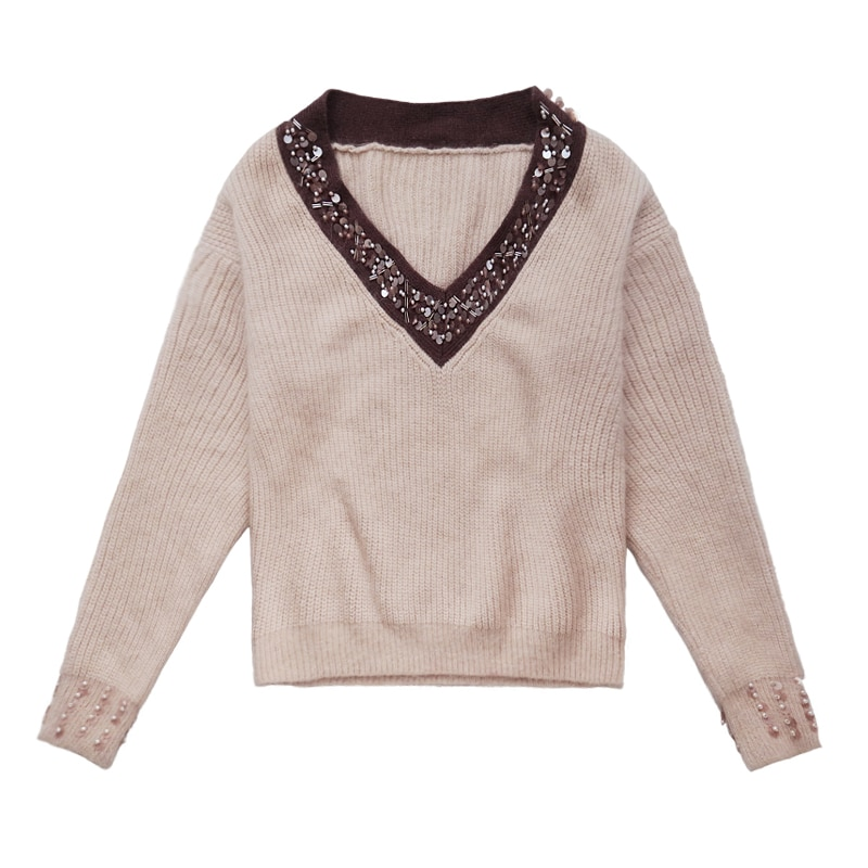 Women's Special Offer Acrylic Computer Knitted Full Sweater 2018 New V-neck Pullover Lazy Wind Beaded Sequins Women Rabbit enlarge