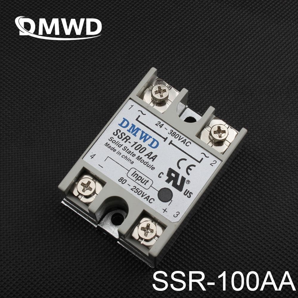 1 Uds SSR-100AA 100A relé de estado sólido 80-250V CA a 24-380V AC SSR 100AA relé de estado sólido de alta calidad